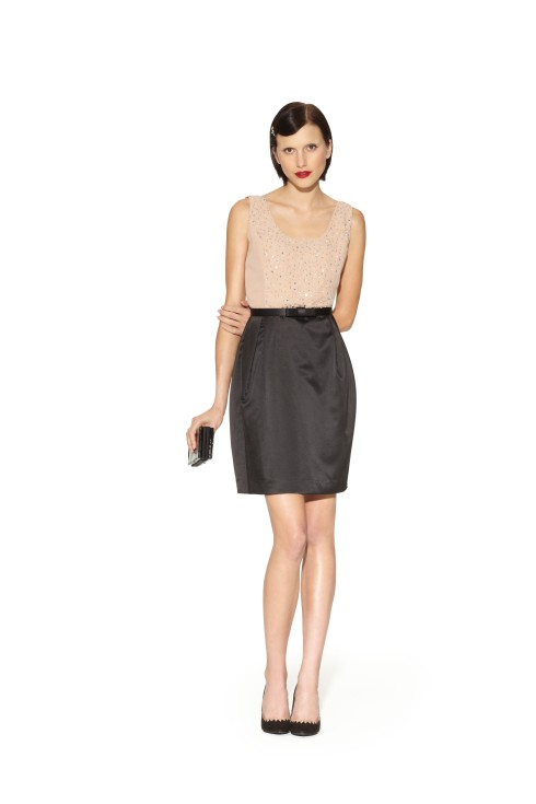 Beaded Colorblock Dress in Tan/Black with Belt, $89.99