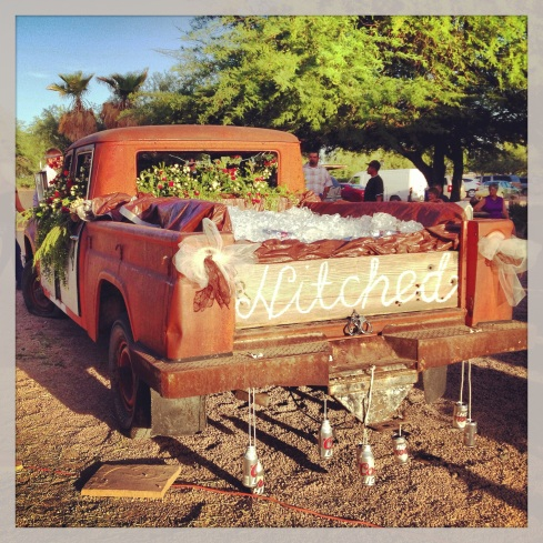 Part of the decor at a gorgeous shabby chic farm wedding in Casa Grande!