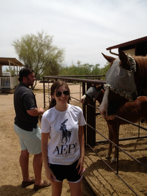 Visiting the horse stables in North Scottsdale